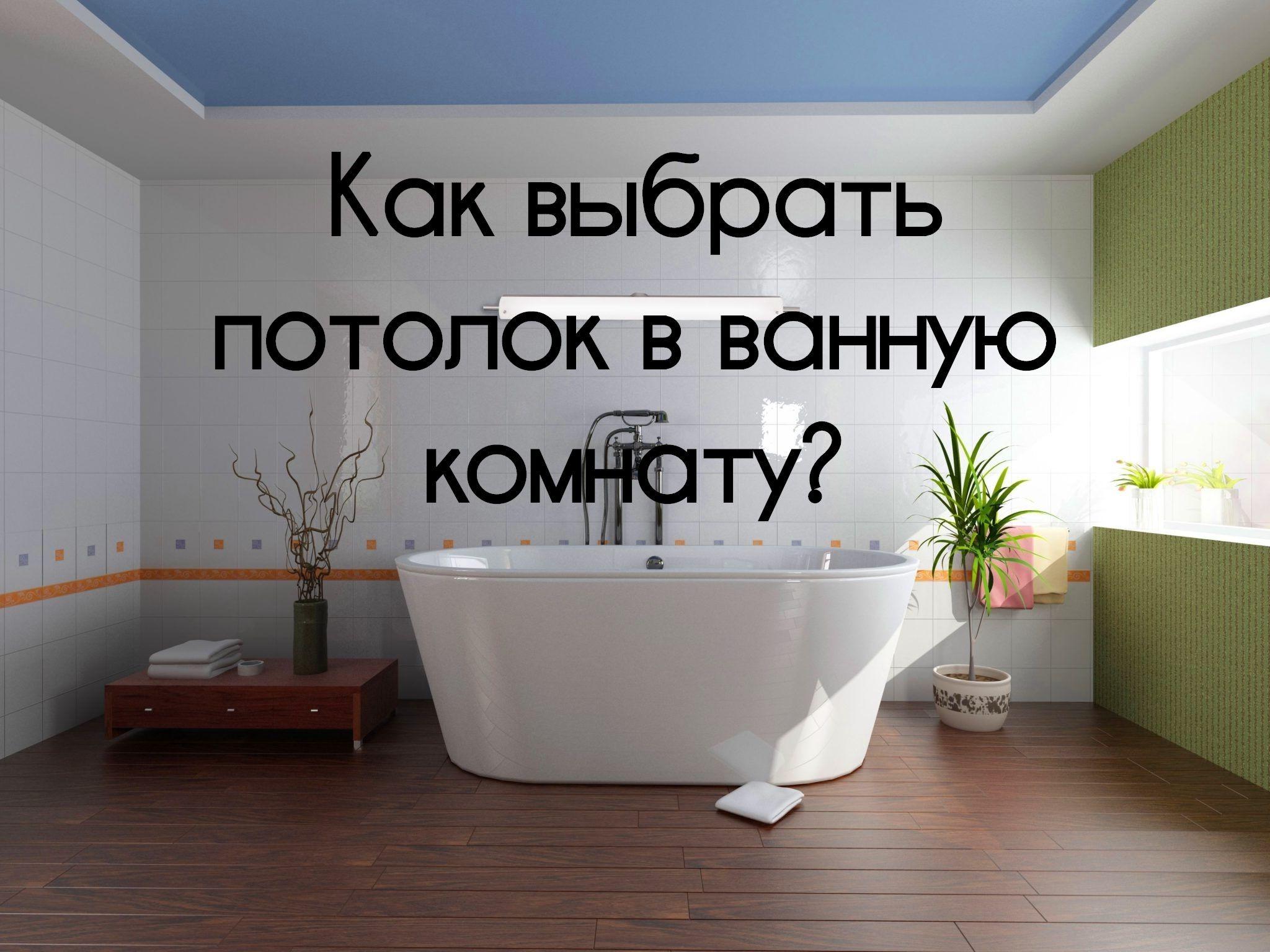 Натяжной потолок в ванной комнате синего цвета. Зеленый фикус в горшке