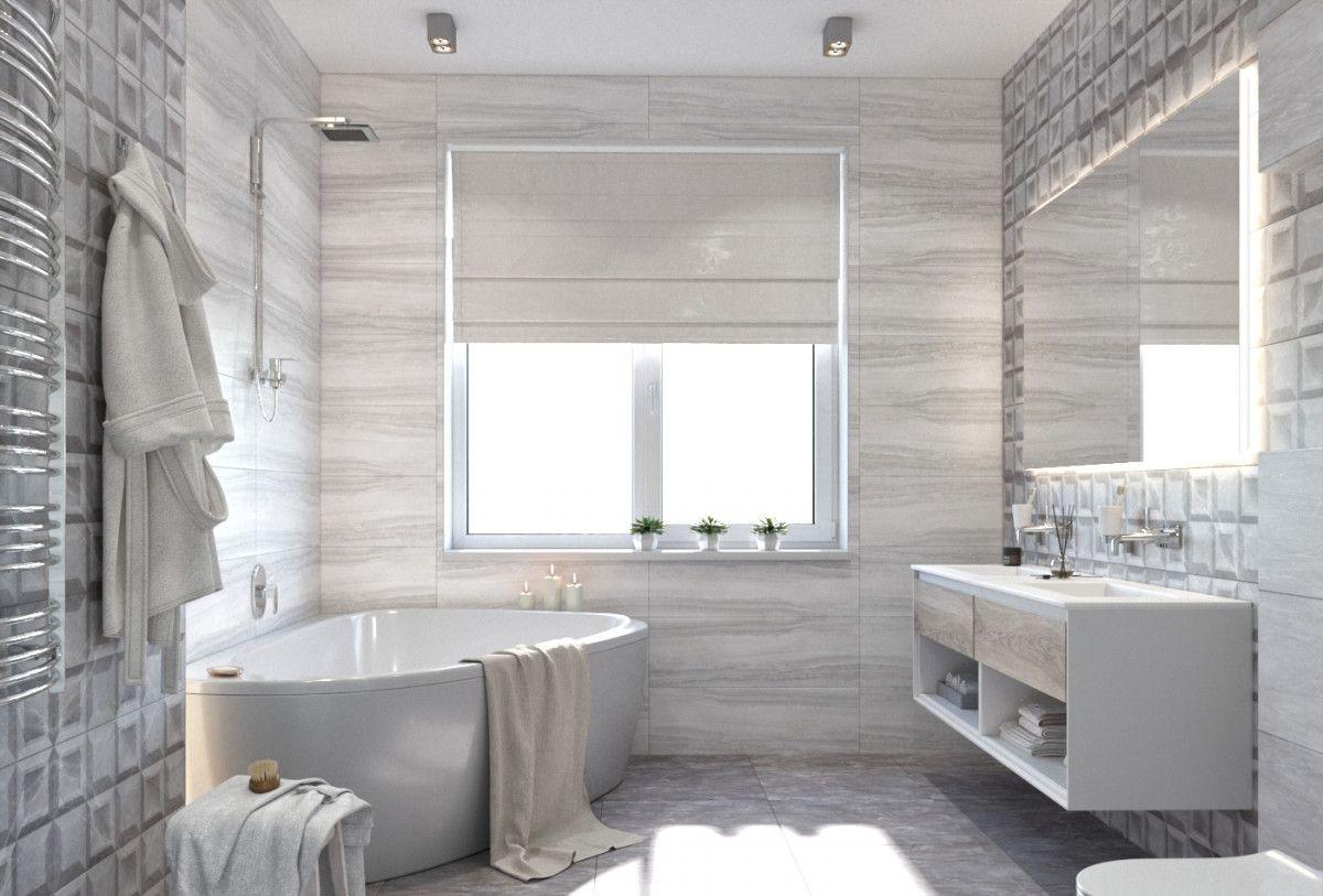 Ванная комната в сером цвете с большим зеркалом и окном